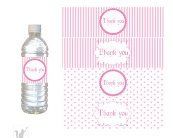 INSTANT DOWNLOAD Pink Stripes Polka Dots Party Thank You Water Bottle Label Wrappers - Party Favors Baby Shower Favors Birthday Favors