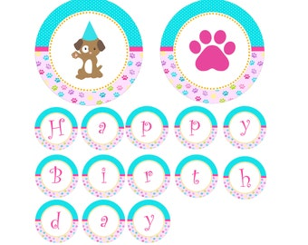 Puppy Birthday Banner - Paws Turquoise Pink Printable Party Decoration INSTANT DOWNLOAD