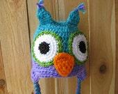Crochet Owl Hat   Purple and aqua blue   Many sizes available