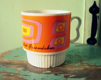 1960s GROOVY Coffee Mug....retro housewares. yellow. pink. orange. funky. 1960s kitchen. coffee. tea. drink. kitsch. retro. love. friendship