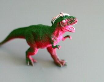 DINOSAUR Keychain...dangly. novelty. dino. retro. science. kitsch jewelry. plastic toy. green dino. big dino. jurassic park. brachiosaurus