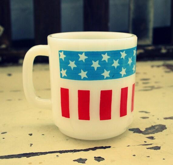 Vintage AMERICAN FLAG Coffee Mug.....milk glass. fourth of july. stars. stripes. retro housewares. drink. tea. serving. coffee. celebrate