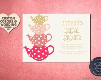 HIGH TEA Invitation Design Pdf Diy Printable Birthday Party Baby Bridal Shower Bachelorette Hens Housewarming Wedding Template Digital Decor