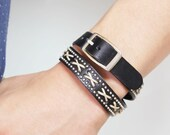 X Stitched and Mini Ball Studded Double Wrap Leather Bracelet(Black)