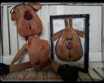 Pattern/ Primitive Reindeer/  Stubby Doll Pattern/ and How to  Greeting Card/ Instant Download Pattern/ Shelf Sitter Doll #124
