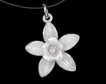 1 of  925 Sterling Silver  Flower Pendant 17mm. Matte Finish.:th1926