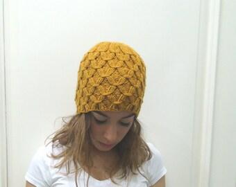 Hand Knitted MUSTARD hat beanie