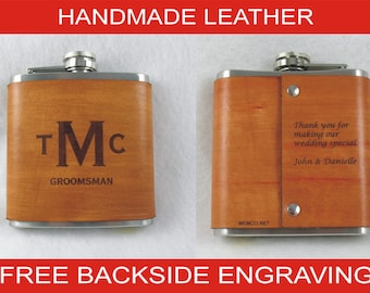 Set of 4 Groomsmen Gifts for the Wedding Party - Personalized Flask Handmade Leather Flask with FREE Backside Engraving!