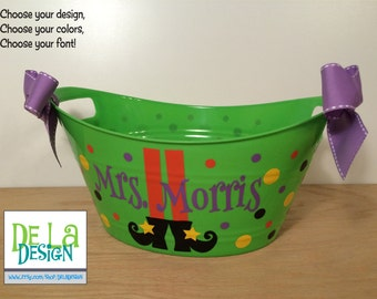 Personalized oval tub - Halloween gift basket, Witches feet, name, and polka dots, Hostess or Teacher gift, great for passing out candy