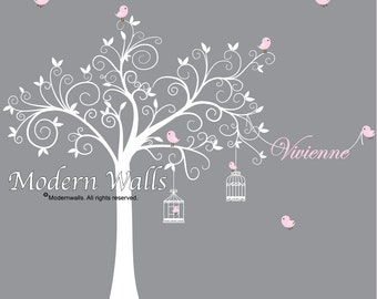 Children Wall Decals For Nursery-Tree with Name Birds Cages-e65