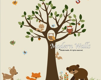 Wall Decal-Decals Stickers Vinyl Tree Decal Forest Set-e81