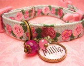 Safety cat collar - Toy Dog Collar - Small Dog Collar - Personalized Name Charm - Pet Tag - Cat Tag - Antique Brass - Pink Roses