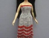 Strapless Silver & Red Striped Dress for Bratz Dolls