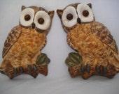 Vintage Owl Wall Hangings Ceramic