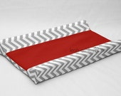 Designer Contour Changing Pad Cover - Gray Chevron - Solid Red Cotton or Minky - Connor