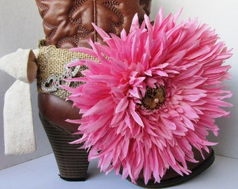 Shabby Chic and girly boot sash for wearing as dressy formal wear for your boots with medium pink Dahlia and a heart pin