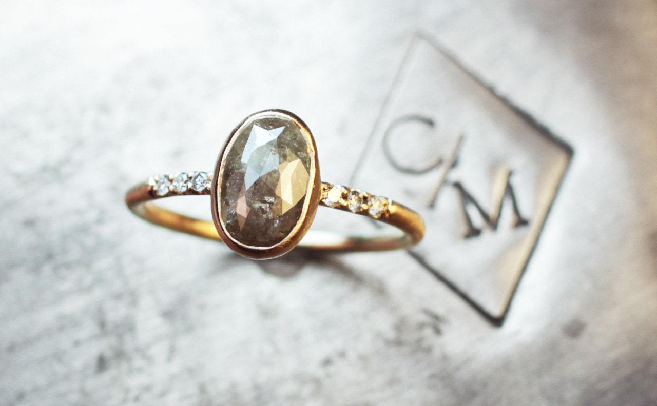 Light Gray Diamond Handmade Engagement Ring in by ChincharMaloney