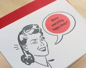 Retro Christmas Gal letterpress sticker card Mad Men style- red stickers, charcoal black ink, choose a sticker for the occasion