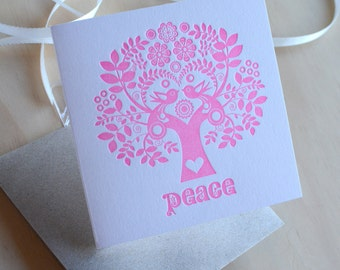 "Letterpress Christmas Card Scandinavian Folk Style neon fluoro Pink Tree of Life ""Hope"" Made in Australia"