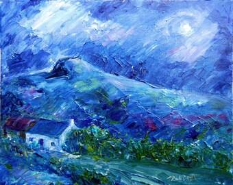 "Original painting, Landscape Ireland,Moonlight,Acrylic""Moonlight over the Hillside""on Artists canvas board,Atmospheric art,Irish art"