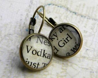 Earrings - VODKA  - Vodka Girl  - Word Earrings - Bartender Earrings - Vodka Shots