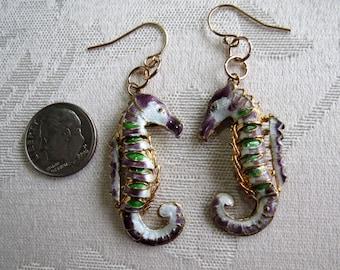 Seahorse Earrings in Cloisonne w 14K Gold Filled
