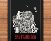 San Francisco Neighborhood Typography City Map Print