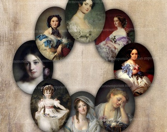 Miniature Portrait Ovals Digital Collage Sheet for DIY Crafting Lockets Pendants Cabochon Jewelry 30 x 40 mm Antique Decoupage Women 556