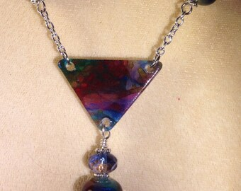 Necklace In Rich Purples, Blues And Reds