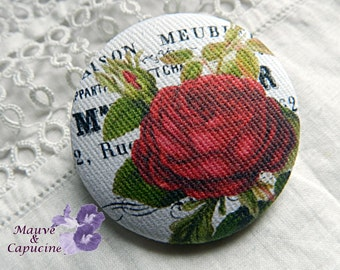 Fabric design with red rose bud, 0.86 in / 22 mm