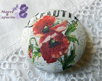 Fabric button, printed poppy, 0.86 in / 22 mm