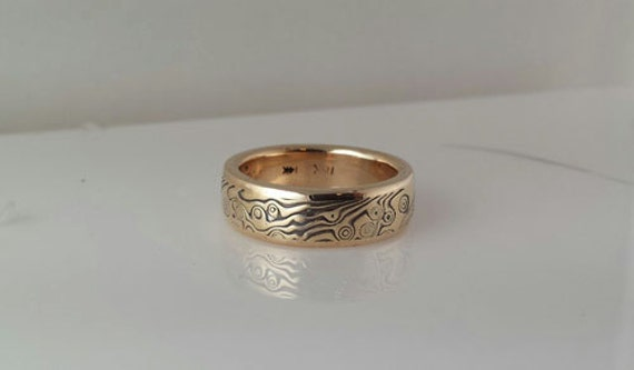 Finished ready to ship 18k Yellow Gold  with Sterling  Random Etched Mokume Gane Band