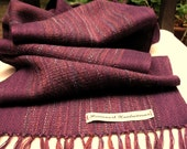 Deep Plum Purple Cotton, Baby Alpaca and Merino Handwoven Scarf