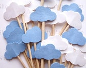 24 Baby Boy Blue  & White Cloud Party Picks - Cupcake Toppers - Toothpicks - Food Picks - FP459