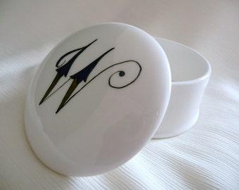 "Hand painted box, bone china box, initial ""W"", trinket box"