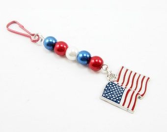 United States Flag Purse Charm Zipper Pull Patriotic Fourth of July Red White Blue Glass Pearls