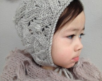 Toddler Bonnet - Organic Hand Knit - Taupe Gray - Children - Kids - Baby Girl Hat - Eco Friendly - Ready to Ship
