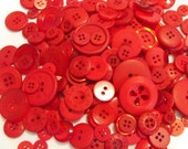 Fire Engine Red Buttons, 100 Bulk Assorted Round Multi Size Crafting Sewing Buttons