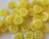 37 Lemon Yellow Mini Heart Buttons Size 3/8""