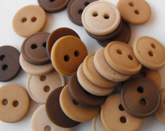 """30 Brown and Tan Eye Round Buttons Size 7/16"""""""