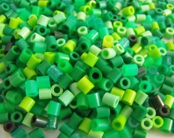 1000 Perler Hama Fuse Beads Green Shades