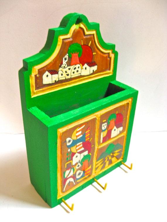 Take 20% Off  El Salvador AMATE Images on Altered Vintage Bright Hand Painted Mail Box Key Holder