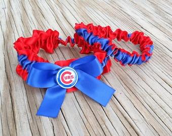 Bridal Garter Red & Blue Chicago Cubs Baseball Inspired Satin Wedding Keepsake Or Garter Set