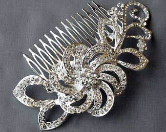 Bridal Headpiece Tiara Headband Rhinestone Hair Comb Accessory Wedding Jewelry Crystal Flower Side Tiara CM085LX