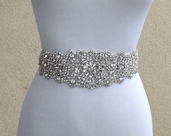 Bridal Sash Belt Wedding Dress Sash Belt Rhinestone Wedding Sash Belt Rhinestone Sash Belt Ivory Ribbon SA014LX