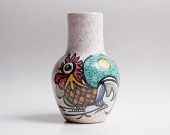 Vintage Whimsical German Studio Pottery Rooster Vase - 60s