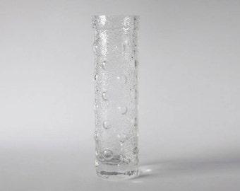 Vintage Finnish Textured Glass Vase  - Tamara Aladin  for Riihimaki/ Riihimäen Lasi Oy 60s