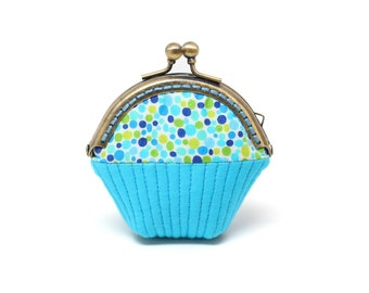 Whimsical blue cupcake mini coin purse