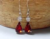 Red Earrings, Red Rhinestone Earrings, Vintage Rhinestones, Red and Clear Rhinestone Earrings