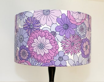 Vintage Retro Lampshade - 1960s Fabric - Large - Handmade - Lilac & purple flower power